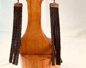 Handmade Earrings, Copper and Brown Leather Fringe with French Wires