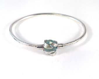 Natural Aquamarine Crystal Sterling Silver Bangle Bracelet