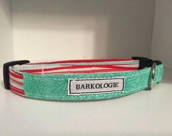Handmade Teal and Coral Dog Collar