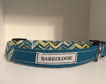 Handmade Teal and Yellow Chevron Dog Collar