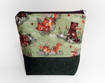 Small Knitting Project Bag, Cute Animals Project Bag, Crafter Project Bag, Sock Knitting Bag, Into the Forest Project bag