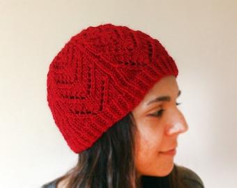 Hand Knit Red Hat, Red Lace Knit Hat, Red Lace Knit Beanie, Chunky Red Knit Hat, Women Hand Knit Red Hat, Cherry Lace Hat, Cosy Knit Hat