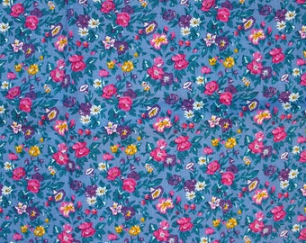 Soviet Vintage Floral Fabric Soviet Cotton Fabric, Retro Russian Blue Small Flowers Fabric. Made in USSR, Collectible