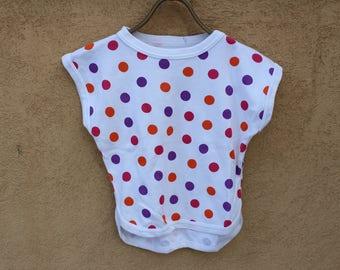 Soviet Kids Top, Size 110/116, Orange Pink and Purple Polka Dots, Vintage 80s Children Cotton T - Shirt,  Made in USSR