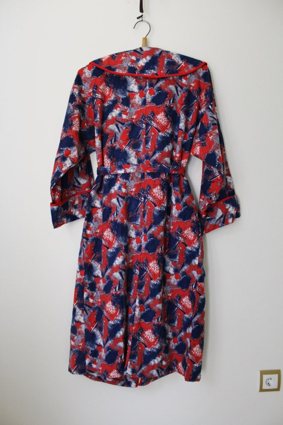 Unused Russian Retro Red Blue Cotton Flannel Long Sleeve Robe Made in USSR 1990s NOS Soviet Vintage Flannel Dressing Gown