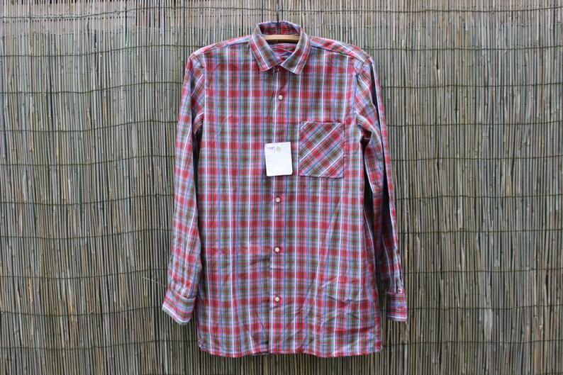 5099edfd5149 Soviet Men Casual Long Sleeve Plaid Shirt  Size 40  NOS Unused