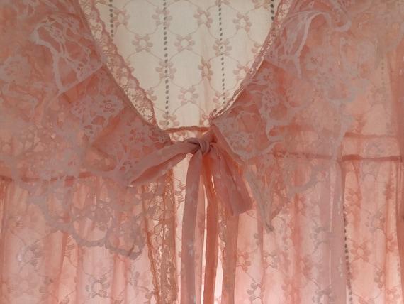 Scandinavian Vintage Pink Lace Dressing Gown, Bri… - image 4