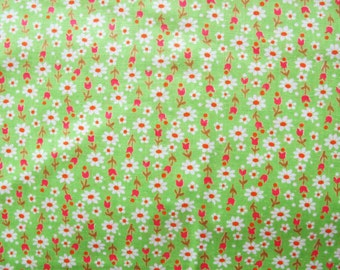 Green Flower Fabric, Soviet Vintage Cotton Fabric with Flowers, 5,4 Yard. Retro Russian Fabric.  Made in USSR, Collectible