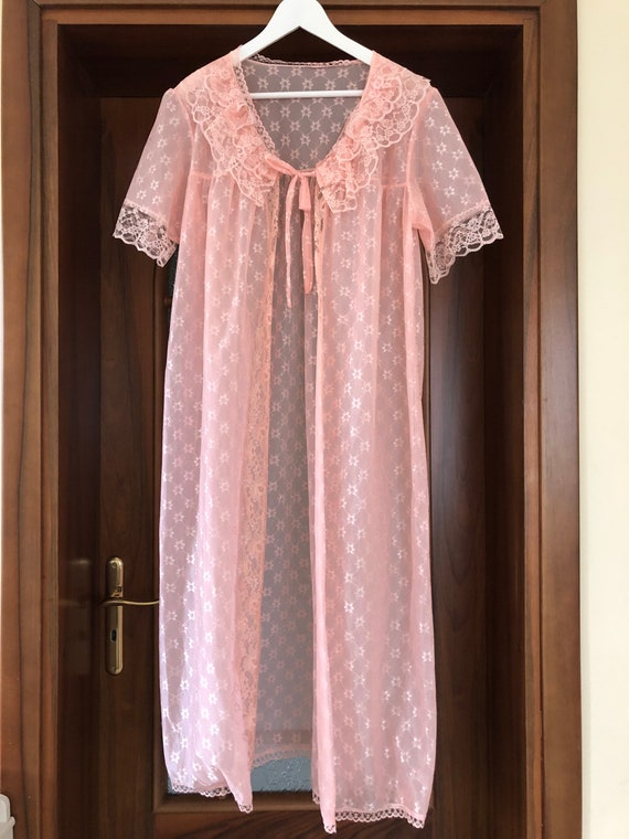Scandinavian Vintage Pink Lace Dressing Gown, Bri… - image 3