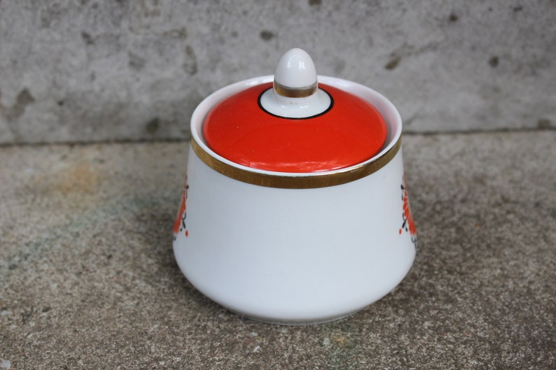 Vintage Sugar Pot with Red Ornament Russian Retro Kitchen Decor Collectible Soviet Sugar Bowl Made in USSR
