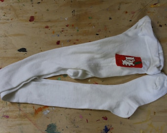 NOS Soviet Cotton Kids Pantyhose Tights. Vintage Unused Russian White Stockings Size 140 = Child Size 10, Made in USSR
