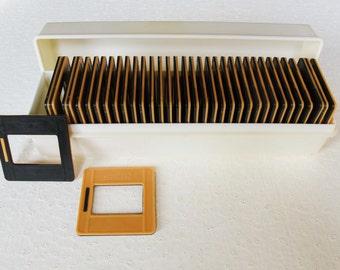Soviet Vintage Set of 36 Orange Black Slide Frames for Diapositives, Plastic Original Box, Made in USSR