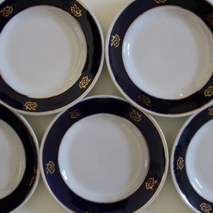 Set of 5 Soviet Plate Collectible Made in USSR Vintage Plate Salad Plate with Cobalt Blue and Gold Decoration Soviet Tableware