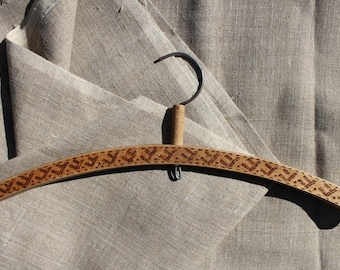 Soviet Vintage Wooden Cloth Hanger, Rustic Clothes Hanger, Made in USSR, 1960s.
