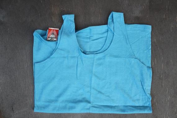 NOS hommes soviétiques coton maillot, taille M, Vintage coton bleu russe Maika sous-vêtements inutilisés avec usine Tag, fait en URSS