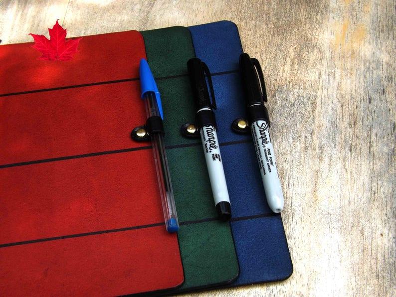 Journal Add-On: PEN LOOP  Black leather pen loop  Midori image 0