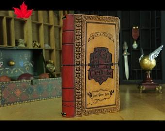 LARGER size Hogwarts House travelers notebook,Leather Notebook Cover,Gryffindor, Ravenclaw,Hufflepuff,Slytherin,hogwarts,b6,house,Hagrid