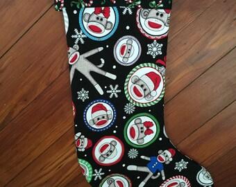 Sweet Sock Monkey Christmas Stocking