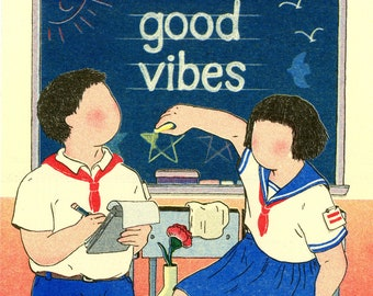 Good Vibes 4-color Risograph Illustration Print