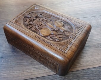 Handmade Armenian Wooden Box with Mount Ararat and Pomegranate