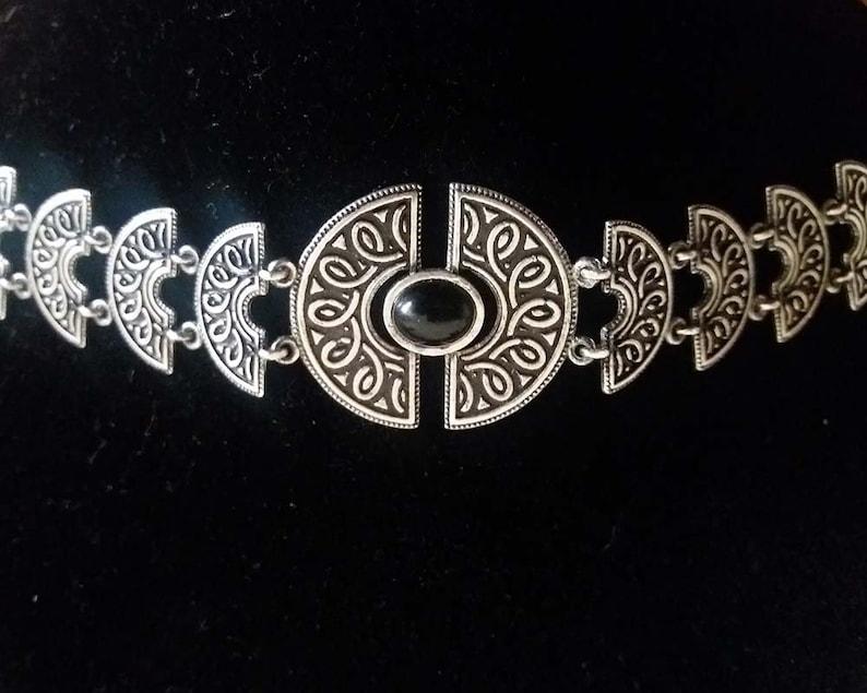 Armenian Semi Circle Garnet Ethnic Bracelet in Sterling Silver
