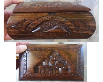 Handcrafted Armenian wooden box with Mount Ararat and Shoghakat Church