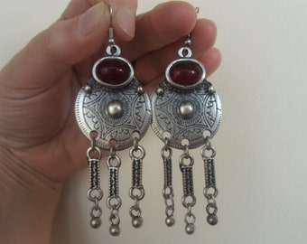 Armenian Circle Dangle Drop Earrings with Pomegranate Stone, Ethnic Drop Earrings, Boho Hippie Drop Dangle Earrings