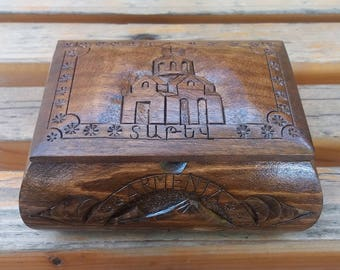 Handcrafted Armenian wooden box with Mount Ararat and Tatev Monastery