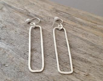 Fine Silver Rectangle Earrings