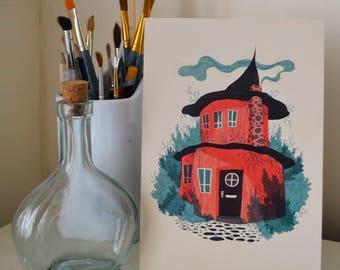 Pink Woodland House Art Print