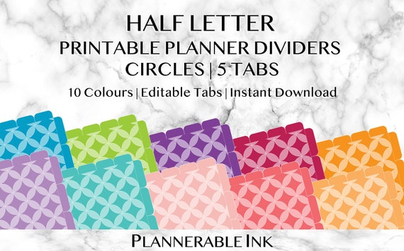photograph about Printable Dividers for Binders identified as Fifty percent Letter Printable Planner Dividers Circles 10 Colors 5 Tabs Words Editable Individualized Organiser Binder Recipes Rainbow