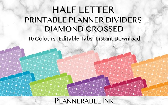 picture about Printable Dividers for Binders referred to as Fifty percent Letter Printable Planner Dividers Diamond Crossed Words and phrases Editable  Customized Organiser Binder Recipes Supper Planner Rainbow
