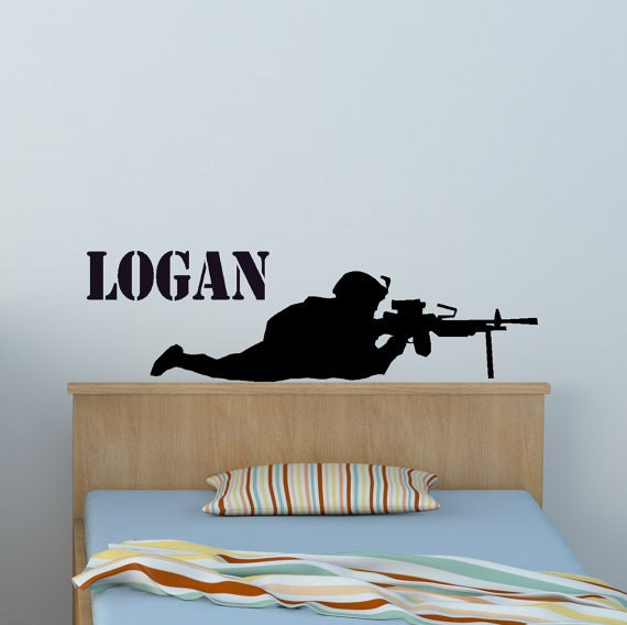 . Soldier Military Personalized Boys Bedroom Wall Decal Army Marine Troop  Sniper Sticker Teen Boys Name Decal Playroom Student Room Decor