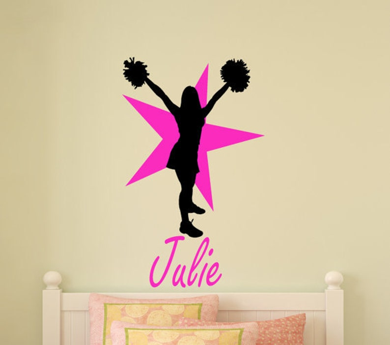 Teen Bedroom Decor Decal Cheerleader Personalized Wall Sticker Girls Cheer  Team Name Decal Girls Bedroom Decor Star Decal 22 X 36 inches