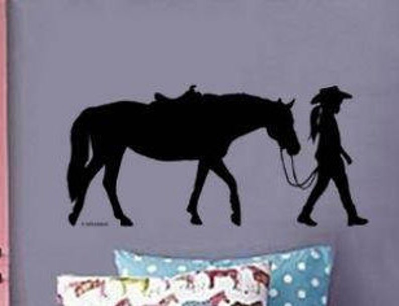 horse rider wall decal design girls teen bedroom decor pony | etsy