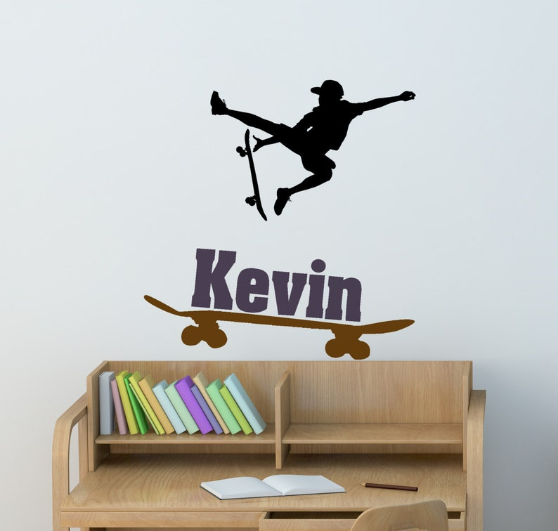 . Skateboarder wall decal  boys bedroom skateboard sticker  teen boys name  decal  personalized sports decal  girls room decor  28 X 29 inches
