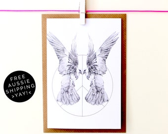 Mirrored Doves Greeting Card - 100% Recycled - From TheWildGooseProject
