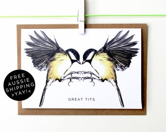 Great Tits Greeting Card - Illustrated Card - 100% Recycled - From TheWildGooseproject