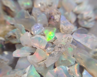 Flashy raw opal chips, small chips, raw rough gemstone pieces