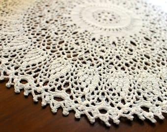 """Crochet doily, white, 15"""""""