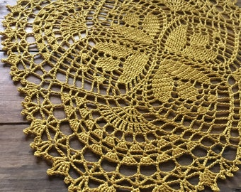 Crochet doily, yellow