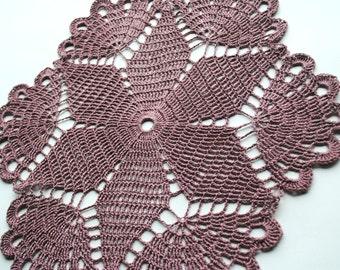 """Crochet doily, light lavender, small lace doilie, 12"""""""