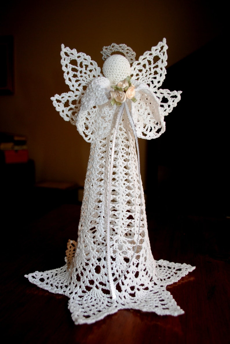 Crochet Christmas Angel Tree Topper White With A Silver