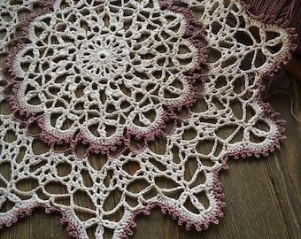 "Crochet doily, small lace doilie, natural, light lavender, 11"""