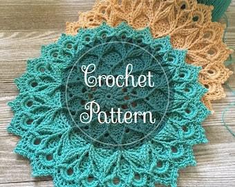 Leylight crochet doily pattern, PDF digital download