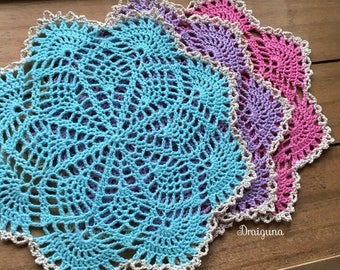 """Small crochet doily, different colors to choose from, 7 1/4"""""""