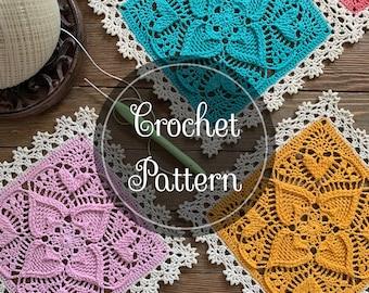 Sweetheart Square Crochet Pattern, PDF Digital Download