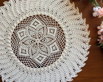 """Crochet doily, natural colored, pineapple lace doilie, 15"""""""
