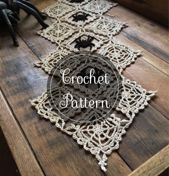 Cobwebs crochet doily pattern PDF digital download Halloween