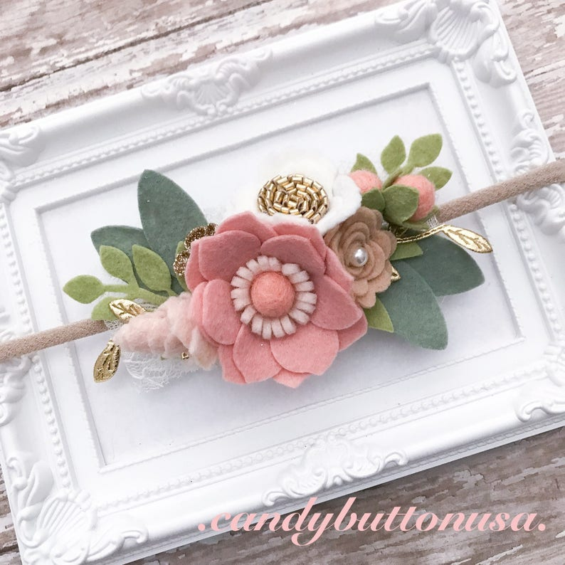 Tea Party Headband Pink Gold Headband Pink Floral Crown Baby Headband Blush Pink Flower Crown Pink Gold Birthday Headband